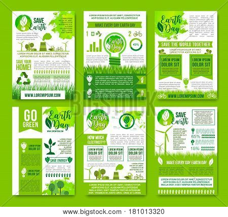 Save Earth vector infographics brochures. Natural sources consumption and green energy use for environment conservation and nature ecosystem protection concept with graphs and diagrams