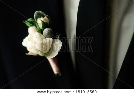 Stylish Elegant Boutonniere On Groom Suit At The Morning Getting Ready
