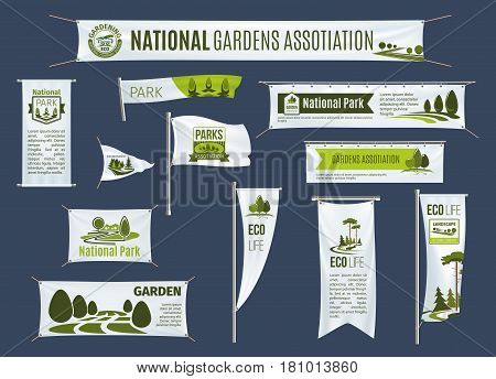 Gardens association and national parks gardening organization on banner billboards, flags or ribbons and signboards. Vector design for green eco environment protection and ecology conservation concept