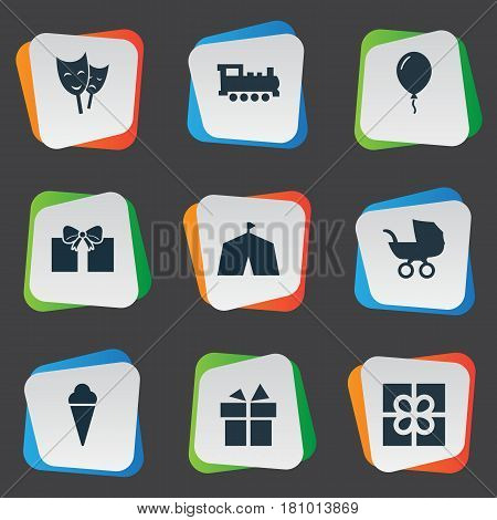 Vector Illustration Set Of Simple Holiday Icons. Elements Aerostat, Train, Sweet Dessert And Other Synonyms Ribbon, Circus And Mask.