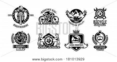 Set of logos, mountain bike. Bicycle, racer, eagle, repair service downhill freeride Vector illustration