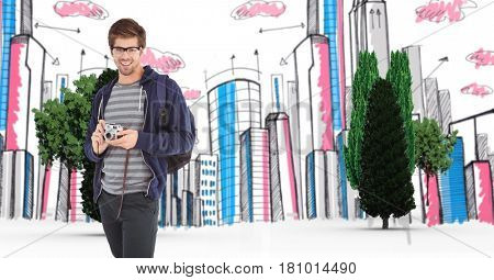 Digital composite of Digital composite image of traveler with camera against buildings