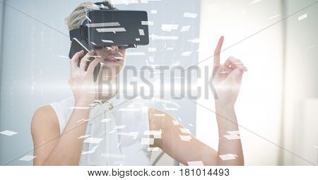 Digital composite of Digital composite image of businesswoman with VR glasses and smart phone