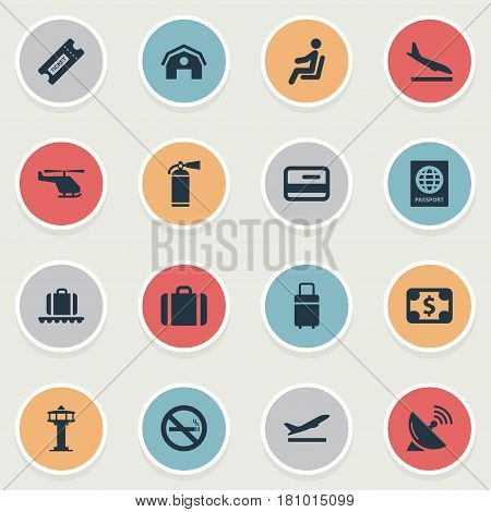 Vector Illustration Set Of Simple Transportation Icons. Elements Certificate Of Citizenship, Garage, Alighting Plane And Other Synonyms Protection, Fly And Plastic.
