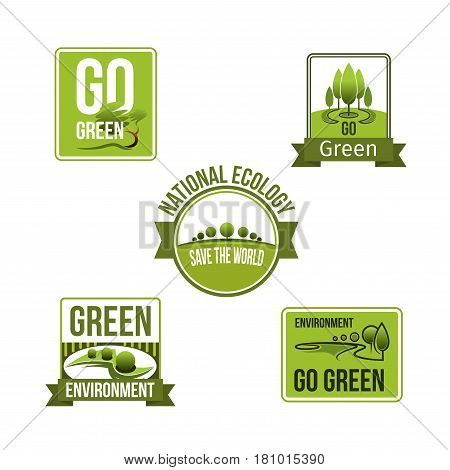 Go green and ecology environment vector icons set. Isolated symbols of nature park and woodland trees for planet protection and ecosystem conservation and protection from pollution