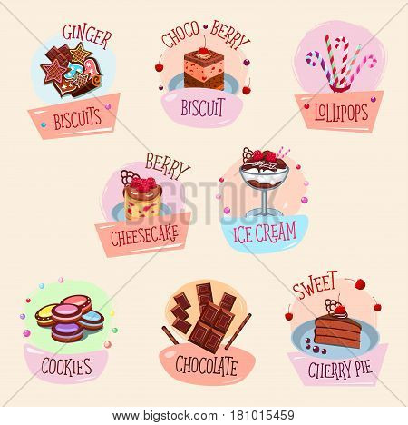 Bakery desserts vector icons set. Ginger biscuits with chocolate and berry, sweet lollipops and cheesecake tart, ice cream or homemade cherry pie and cookies. Design for pastry or patisserie