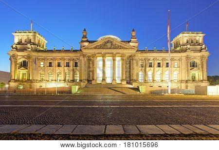 Berlin at a night Reichstag building Germany