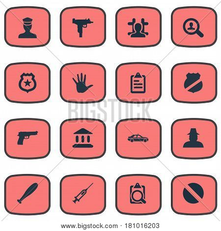 Vector Illustration Set Of Simple Offense Icons. Elements Pistol, Checklist, File And Other Synonyms Officer, Baseball And Governemental.