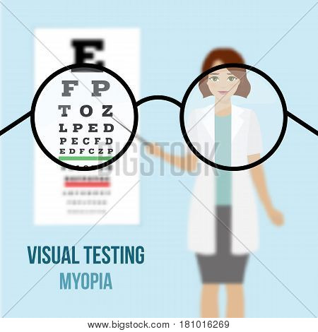 Eye vision test at an ophthalmologist eyesight acuity exam diagnostic of myopia. Vision correction with glasses. Vector.