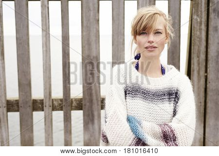 Blue eyed babe in jumper portrait outdoor