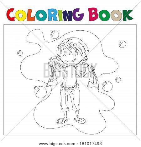 Boy in bathroom coloring book. Vector illustration