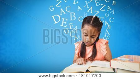 Digital composite of Digitally generated image of girl studying with letters flying in blue background