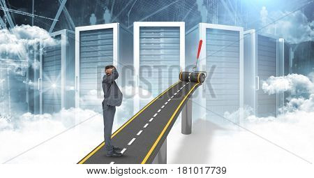 Digital composite of Digitally generated image of confused businessman on highway against servers