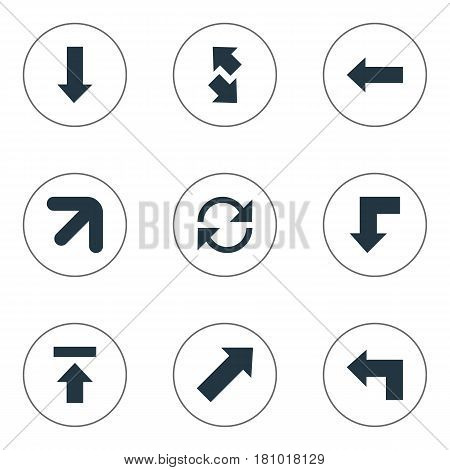 Vector Illustration Set Of Simple Arrows Icons. Elements Downwards Pointing, Raising-Falling, Transfer And Other Synonyms Up, Upwards And Left.