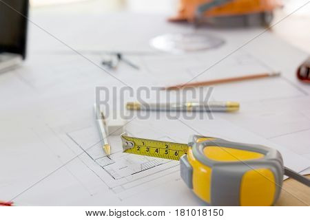 Blueprints, Hardhat, Glasses, Stickers, Construction Level, Pen In Architecture Office.