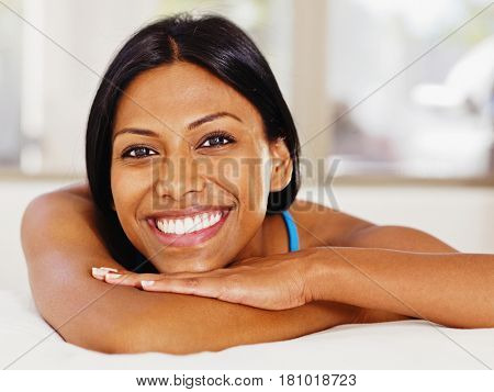 Close up of Indian woman smiling