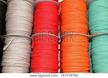 Colored Threads For Sale In A Haberdashery Shop For Hobbyists