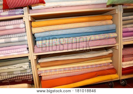 Fabric Store With Many Textile Products For Sale On The Shelves