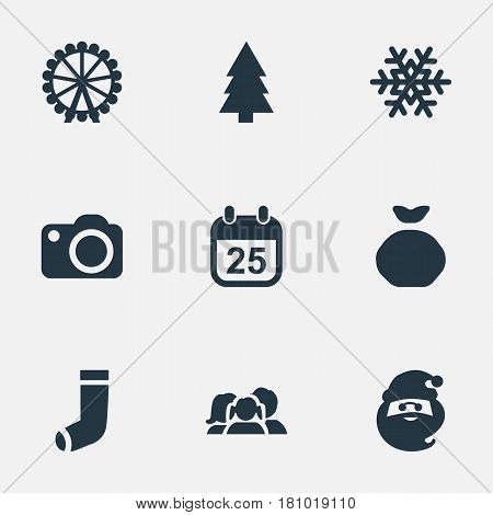 Vector Illustration Set Of Simple Christmas Icons. Elements Christmas Character, Photography, Christmas Decoration And Other Synonyms Snow, Relatives And Carouse.