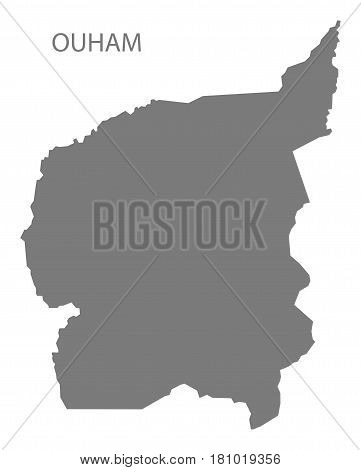 Ouham prefecture region map grey illustration silhouette