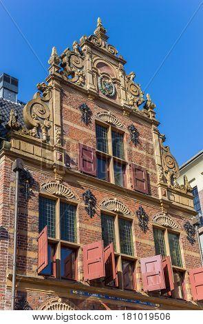 Facade of the historic building Goudkantoor in Groningen Netherlands