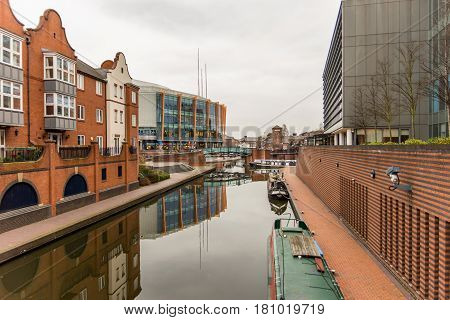 Day View of boat canal in Coventry City Centre.