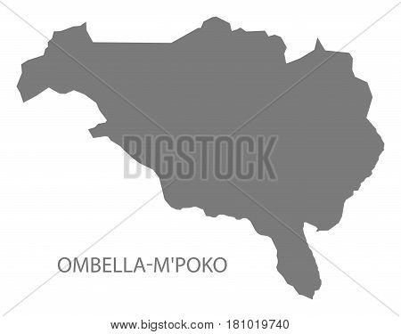 Ombella MPoko prefecture map grey illustration silhouette