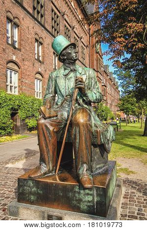 COPENHAGEN DENMARK - JUNE 15: Monument of Hans Christian Andersen in Copenhagen Denmark in 2012