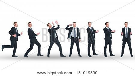Digital composite of Multiple image of businessman doing various gestures on white background