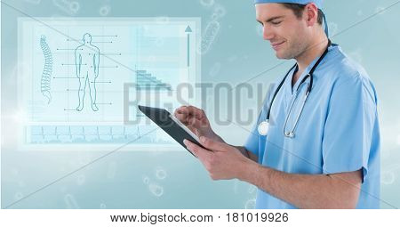 Digital composite of Male surgeon using digital tablet against medical diagram