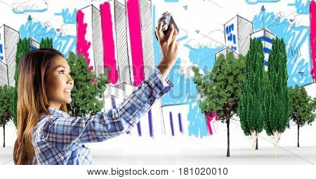Digital composite of Woman taking selfie over hand drawn city