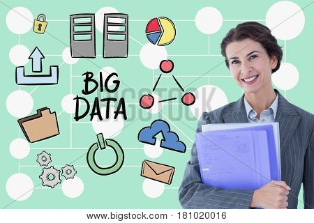 Digital composite of Happy businesswoman holding files while standing by big data diagram