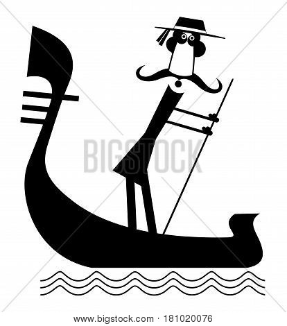 Funny gondolier with long mustaches rides on gondola illustration