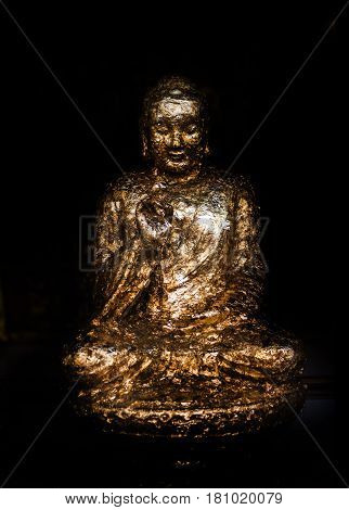 Sculpture Buddism With Gold Paper