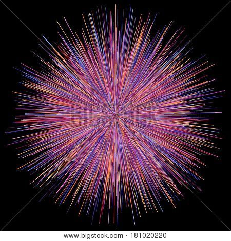 Abstract colorful explosion of fireworks against a dark background