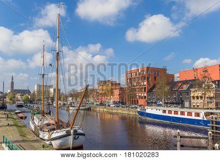 GRONINGEN, NETHERLANDS - APRIL 02, 2017: Traditional dutch sailing ship in the east harbor of Groningen, Netherlands