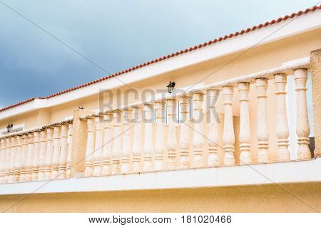 balcony In classical style. Beautiful white Balcony