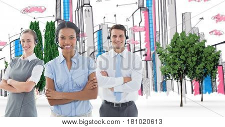 Digital composite of Call center executives standing arms crossed against hand drawn city