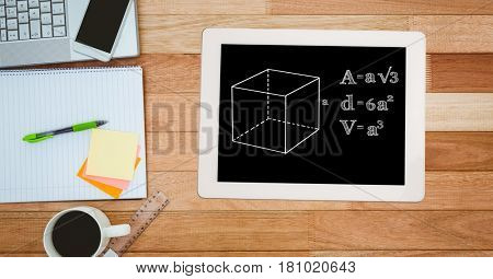 Digital composite of Directly above shot of formula in digital tablet with technologies and office supplies by coffee cup