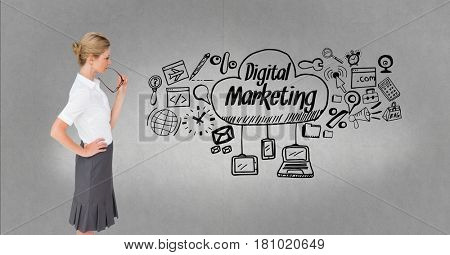 Digital composite of Thoughtful businesswoman looking at digital marketing and graphics