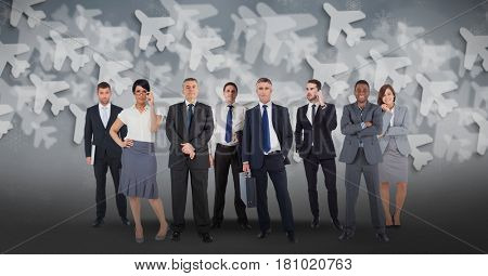 Digital composite of Digital composite image of multi ethnic business people with airplane background