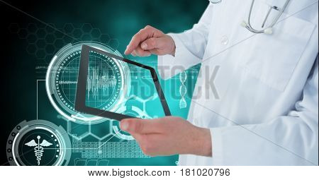 Digital composite of Digital composite image of doctor using digital tablet by medical symbols