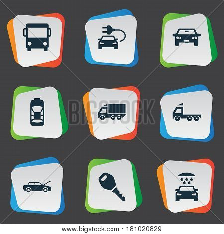 Vector Illustration Set Of Simple Car Icons. Elements Car Charging, Auto, Repair And Other Synonyms Auto, Electric And Shower.