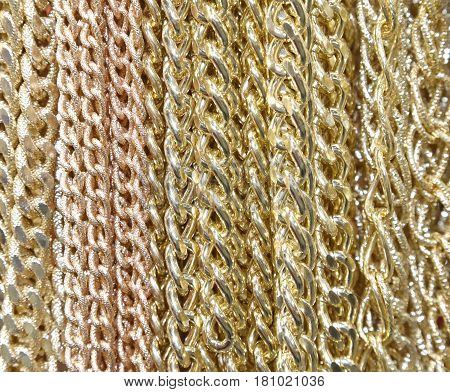 Background Of Golden Necklaces And Chains