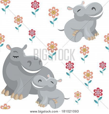 Children's vector seamless pattern in cartoon style with the image of cute animals and their cubs.