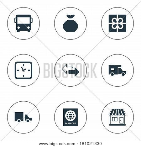 Vector Illustration Set Of Simple Delivery Icons. Elements Gift, Van, Holdall And Other Synonyms Transport, Autobus And Pouch.