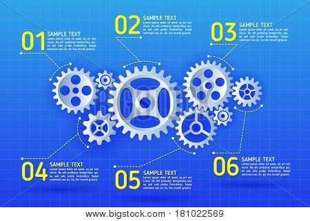 Abstract gears infographic. Mechanism with integrated gears for business presentations or information banner. Modern design of background esp 10