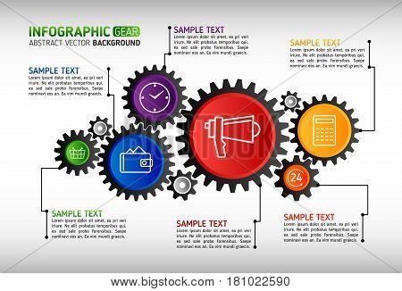 Abstract gears infographic. Mechanism with integrated gears and icons for business presentations or information banner. Modern design of background esp 10