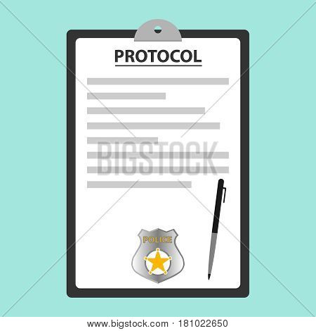 The police protocol. Flat design vector illustration vector.