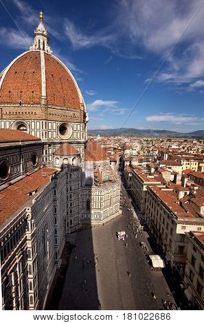 The Duomo, Florence, Italy - July 12, 2012: The Cattedrale di Santa Maria del Fiore is the main church of Florence, Italy.